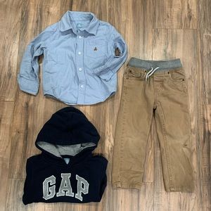 Baby Gap Shirt, Gap Hoodie and Cat & Jack Jeans 3t